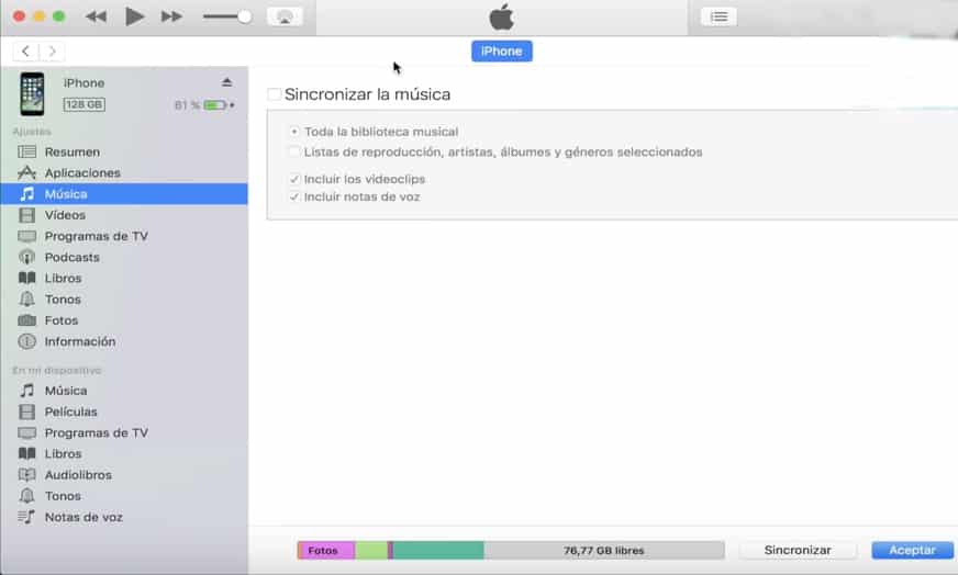 itunes sincronizar musica