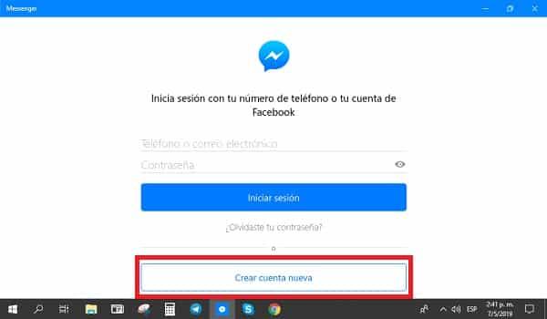 crear cuenta en facebook messenger pc