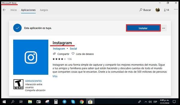 Installieren von instagram auf einem PC-Fenster