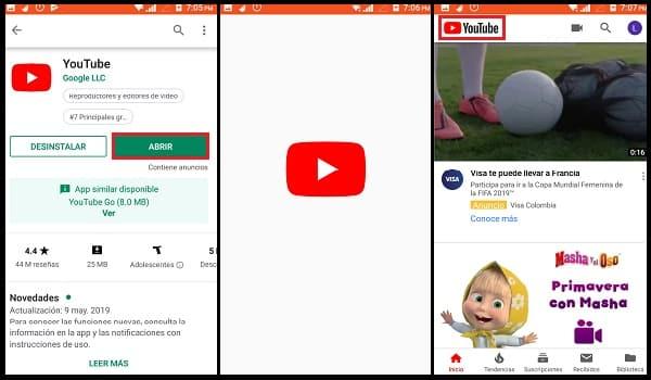 pasos para descargar youtube en un movil
